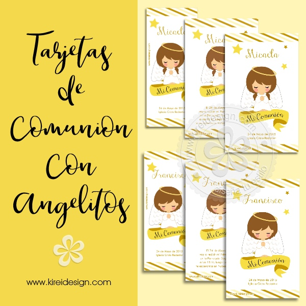 invitacion, recordatorio comunion angelitos kireidesign