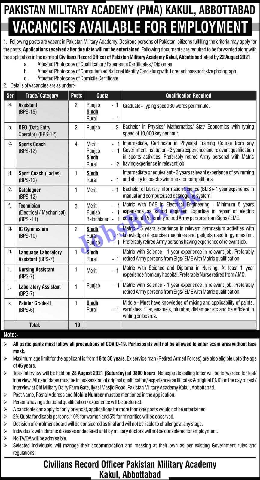 Pakistan Military Academy PMA Jobs 2021 in Abbottabad