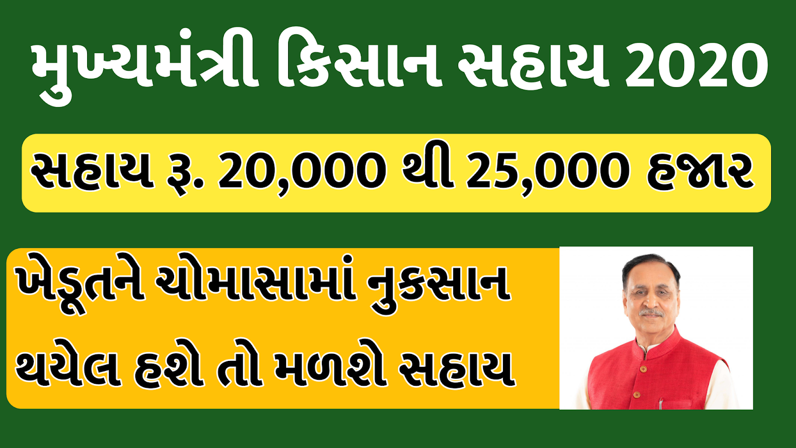 Mukhyamantri Kisan Sahay Yojana Gujarat Farmer Registration 2020 Kharif Online Application