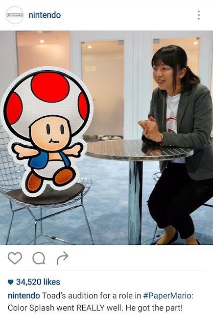 Paper Mario Color Splash Risa Tabata Toad audition character Instagram Intelligent Systems trolling