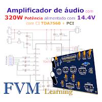 Amplificador de áudio com 320W Potência alimentado com 14.4V com CI TDA7560 + PCI