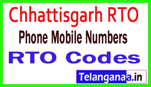 Chhattisgarh CG RTO Codes Phone Mobile Numbers and Pin Code