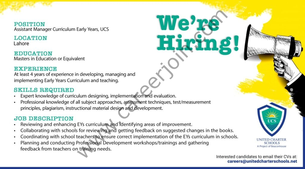 United Charter Schools Jobs Assistant Manager Curriculum Early Years