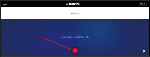tombol merah untuk merekam suara google translate