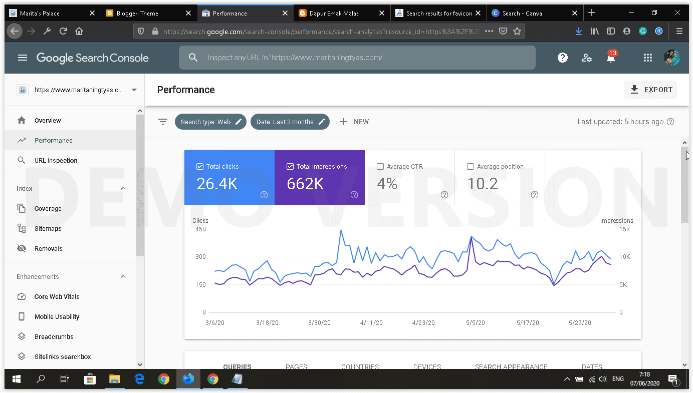 kinerja blog pada Google Search Console