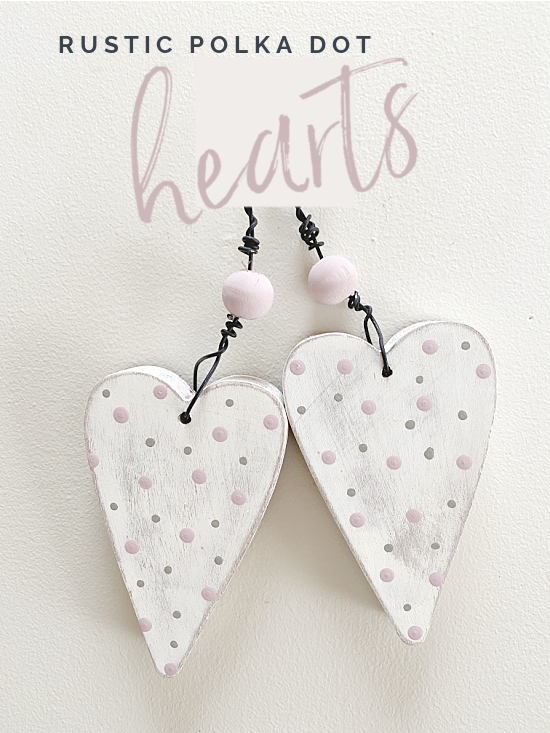 hanging hearts with polka dots and a wooden bead