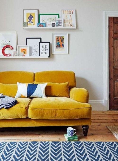 20 Εντυπωσιακά Σαλόνια με Κίτρινους Καναπέδες