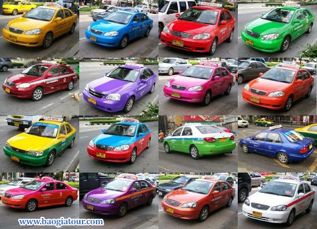 màu sắc taxi tại bangkok