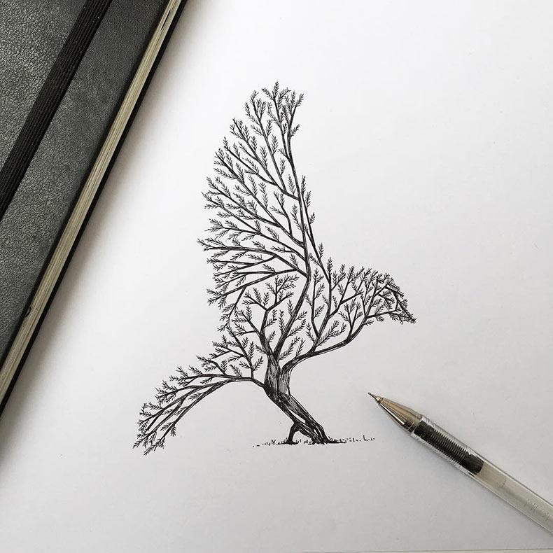 Representaciones de árboles brotando dentro de los animales de Alfred Basha
