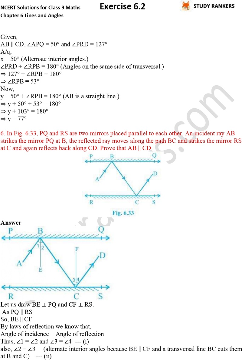 NCERT Solutions for Class 9 Maths Chapter 6 Lines and Angles Exercise 6.2 Part 4