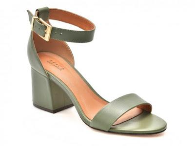 Sandale dama cu ttoc gros kaki din piele naturala