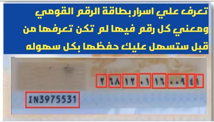 أسرار وخفايا أرقام بطاقة الرقم القومي ومعنى كل رقم فيها... خفايا وحقائق لم تكن تعرفها من قبل