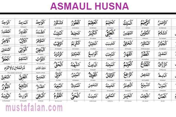 Asmaul Husna 99 Ayat Tabel Dan Gambar Lengkap Mustafalan