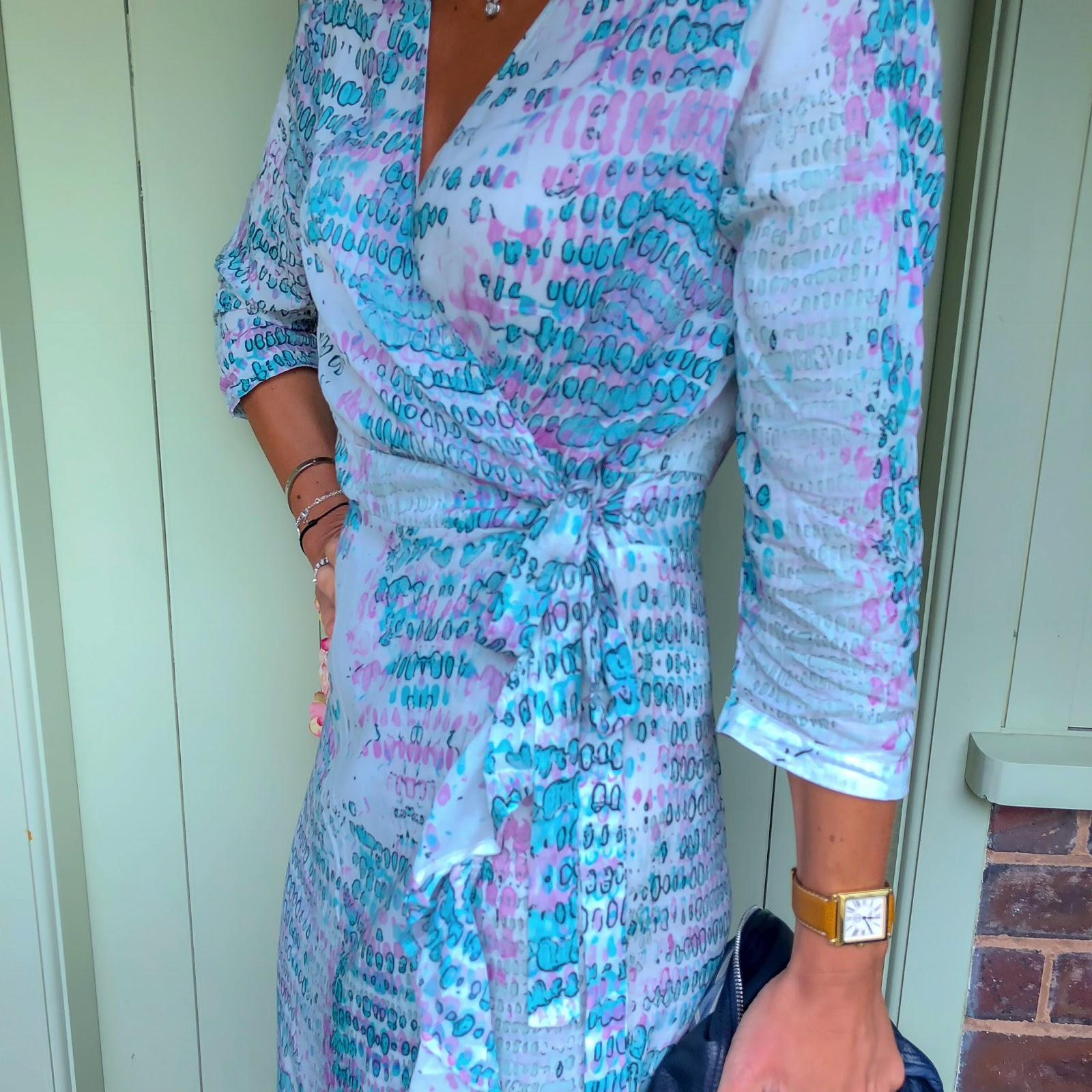 my midlife fashion, sophia alexia, sophia alexia aqua pink snake ruffle wrap dress, massimo dutti leather biker jacket, golden goose superstar low top leather trainers