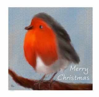 Merry Christmas Robin-Digital Painting by Clare Walker