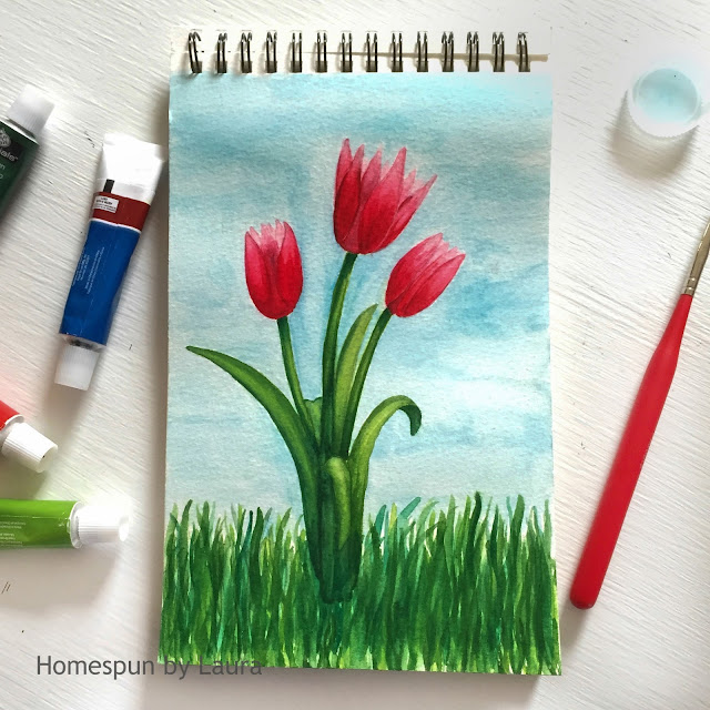 homespun by laura daily doodle pink tulips watercolor