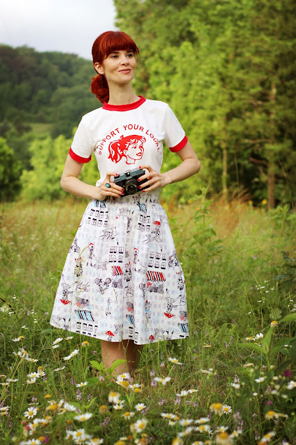 Bettie & Veronica Style Red White Ringer Tee