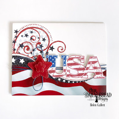 Our Daily Bread Designs Stamp: USA, Custom Dies: Double Stitched Stars, Paper Collection: Stars and Stripes