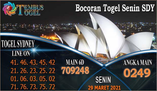 Bocoran Togel Senin SDY, Tanggal 29 Maret 2021