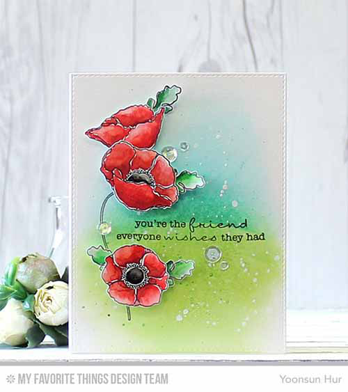 Three Poppy Friend Card by Yoonsun Hur featuring Lisa Johnson Designs Delicate Pretty Poppies stamp set and Blueprints 25 Die-namics #mftstamps