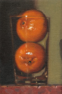 Still life oil painting of two mandarines inside a cider glass.