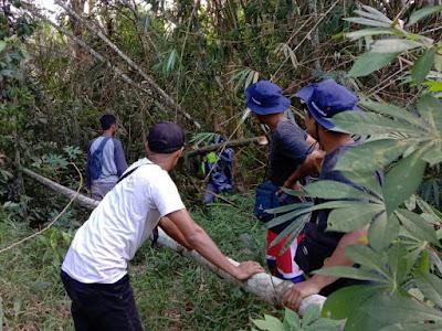 Bersama staff desa, Tim KKN XV Desa Ibul lakukan gotong royong bersama-wisataibul.com