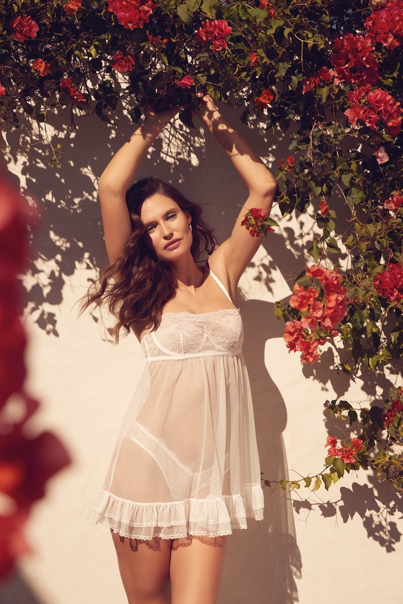 Bianca Balti wears Yamamay Marry Me lingerie set.