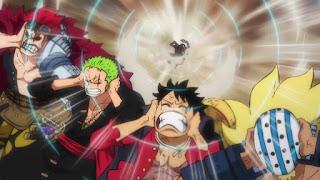 ワンピースアニメ  987話 ワノ国編   ルフィ ゾロ ユースタスキッド ギザ男 キラー   ONE PIECE Luffy  KID Zoro Killer