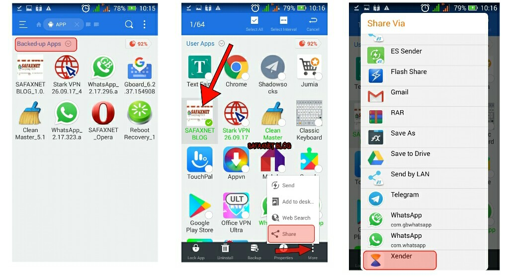 how to locate apk files of  apps on android