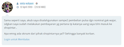 kesaksian konsumen mengenai shopintar