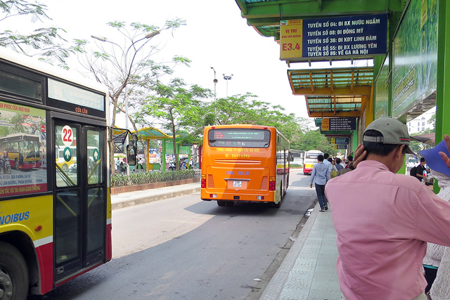 Hanoi bus station on the road from Noi Bai airport to center