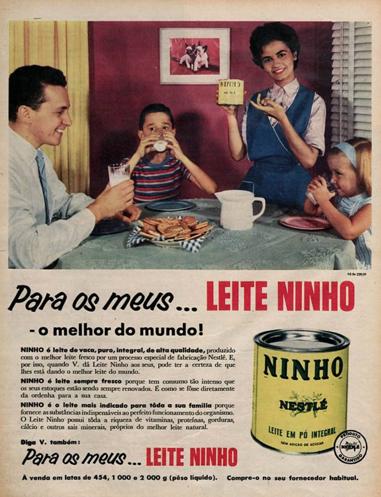 Propaganda antiga da Nestlé promovendo o Leite Ninho em 1960