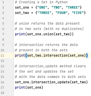Union and Intersection of sets in Python