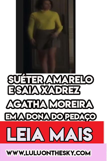 O look de saia e suéter da Agatha Moreira, a Jô, em A Dona do Pedaço