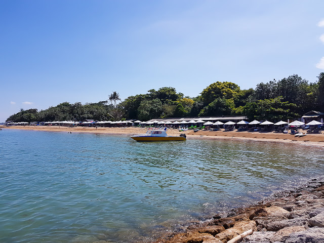 speedboat docked at beach in Sanur Bali Indonesia