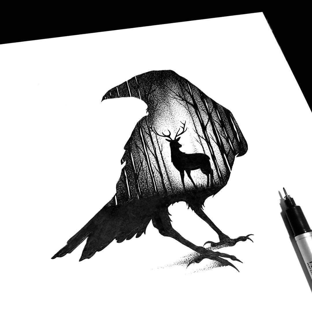 08-The-Raven-and-the-Deer-Thiago-Bianchini-Ink-Animal-Drawings-Within-a-Drawing-www-designstack-co