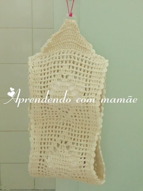 porta papel higiênico, EuroRoma, crochê, editora Sampa, banheiro, decoração, tapete, barbante EuroRoma
