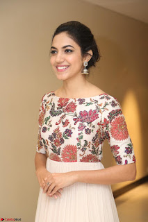 Ritu Varma smiling face Cream Anarkali dress at launch of OPPO New Selfie Camera F3 ~  Exclusive 093.JPG
