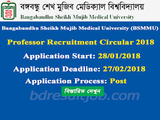 BSMMU Professor Recruitment Circular 2018
