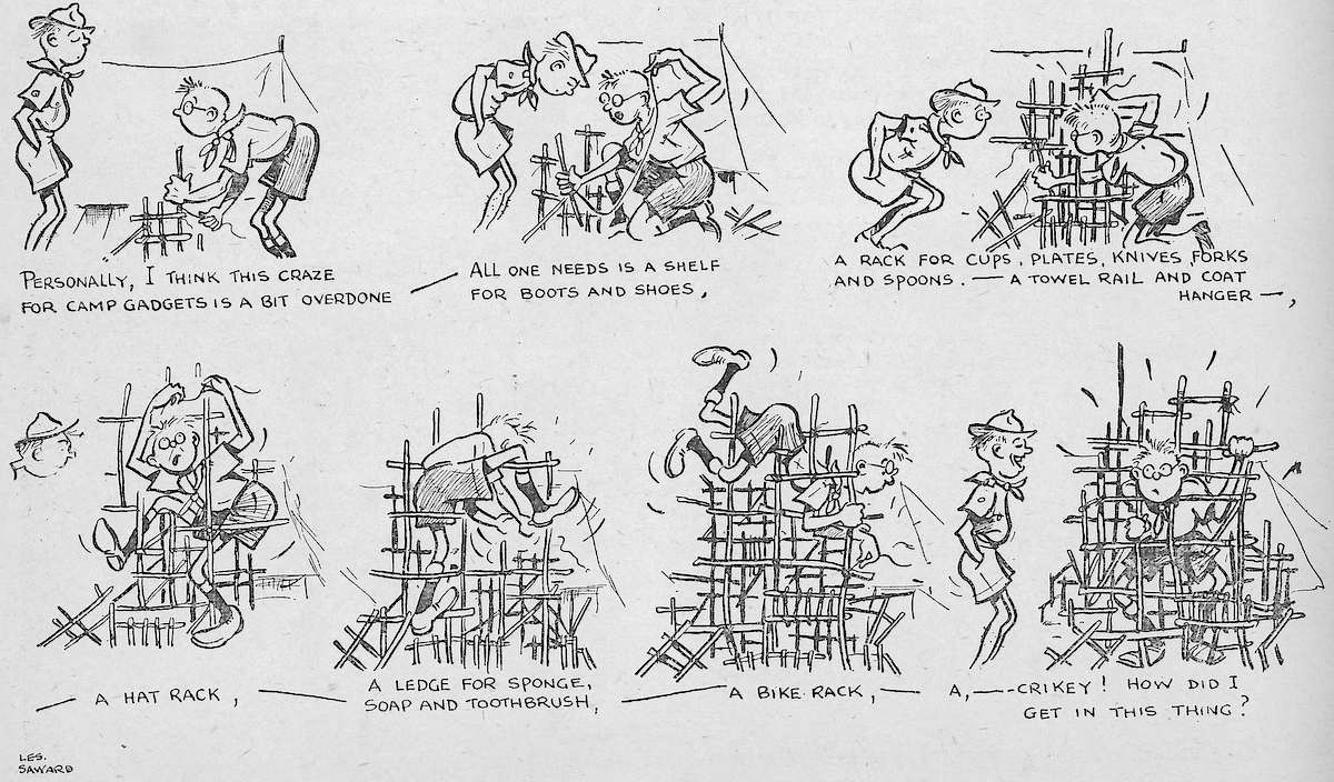 Ropes and Poles: Cartoon: camp gadgets