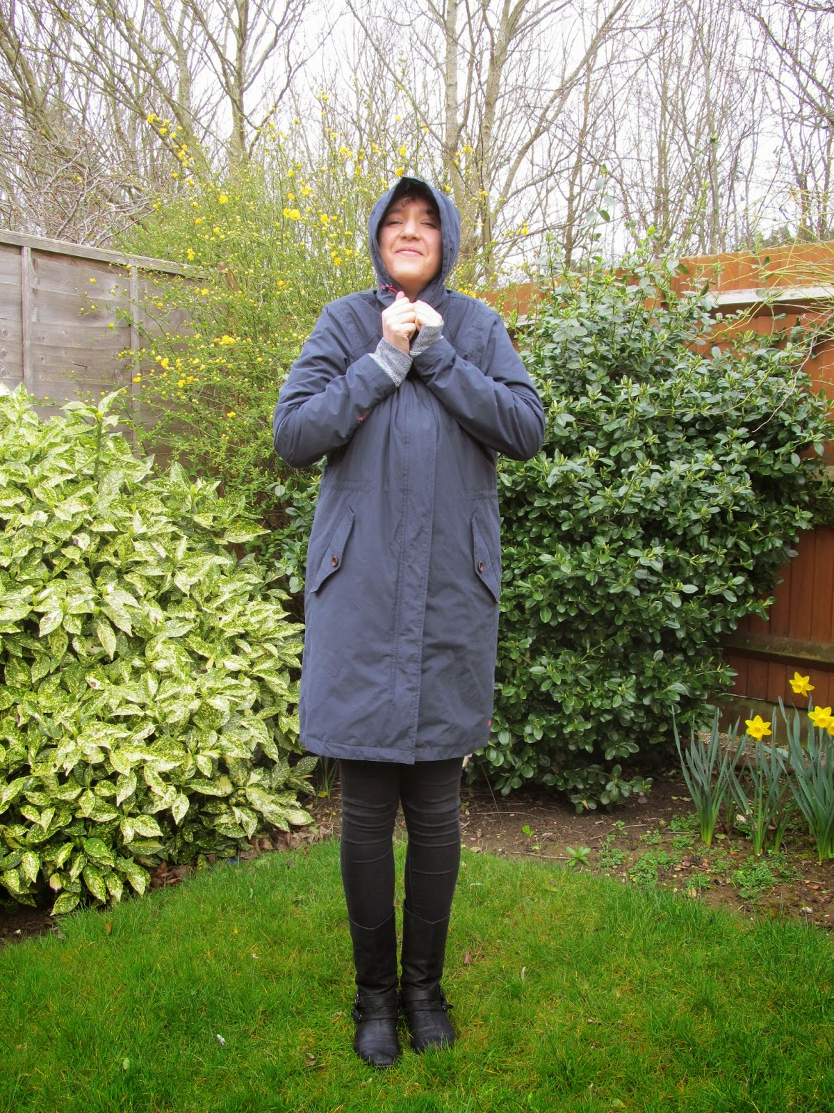 hooded navy waterproof coat