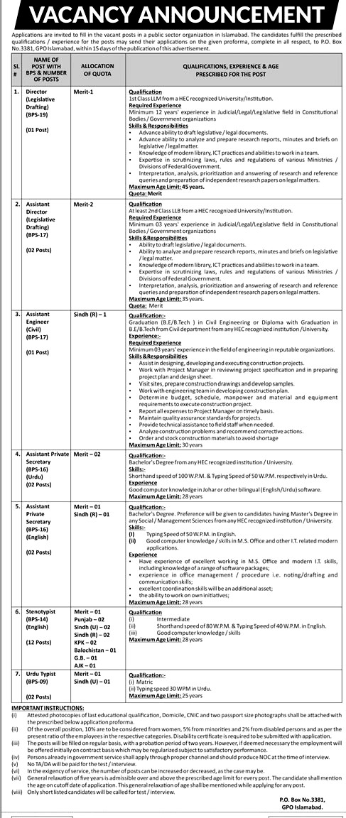Public Sector Organization Islamabad Latest Jobs 2019