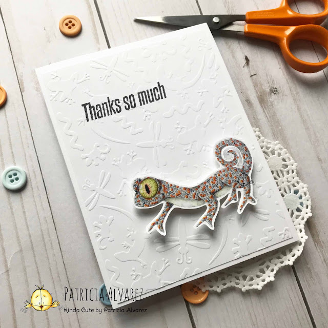 Thank you card using Gecko pre colored digital stamp from kindacutebypatricia.com
