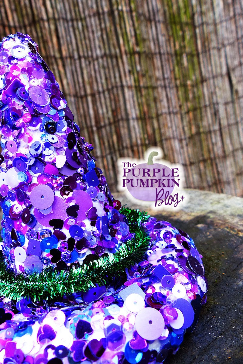 Sequined Witches Hat Decoration #Halloween #CraftyOctober
