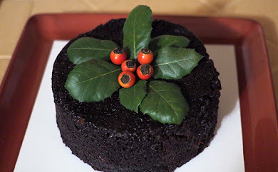 Steamed Persimmon Pudding Decorated with California Holly