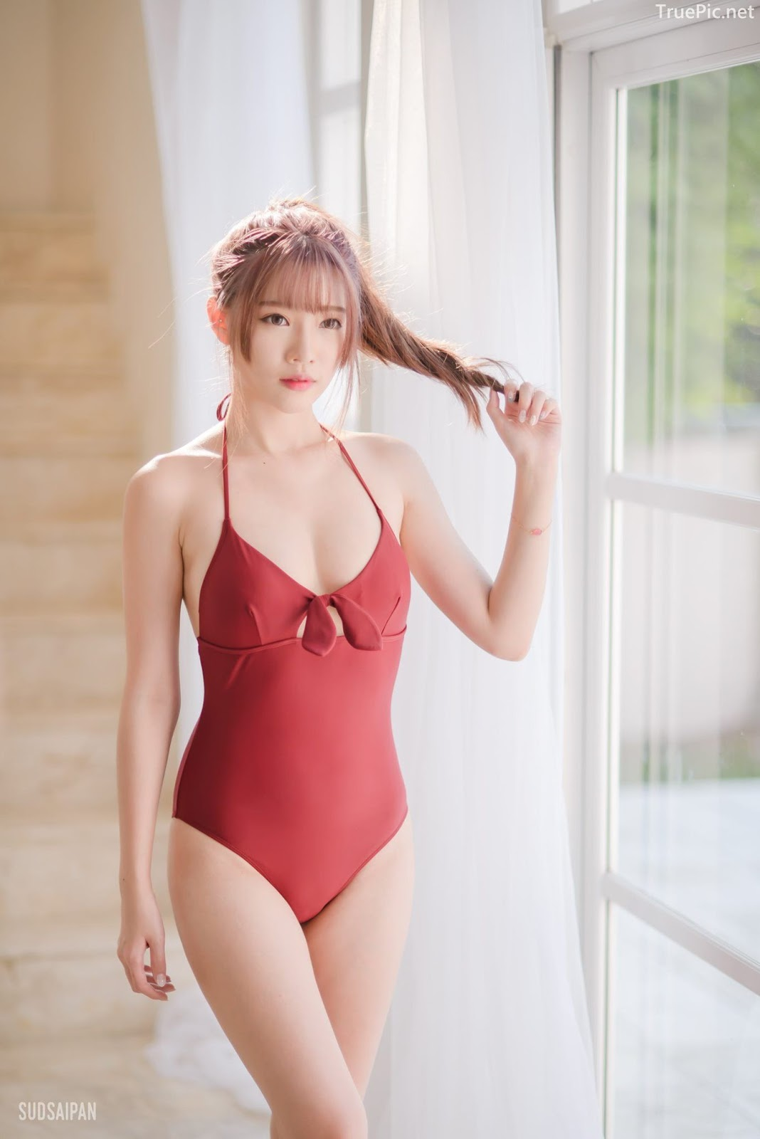 Chinese hot streaming girl - 簡欣汝 - Red Swimming Suit - TruePic.net - Picture 10
