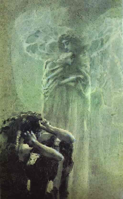 "Mikhail Vrubel (1856-1910) - ""Demon and angel with Tamara's soul"". Illustration to Lermontov's poem ""Demon"" Wikimedia Commons Images public domain"