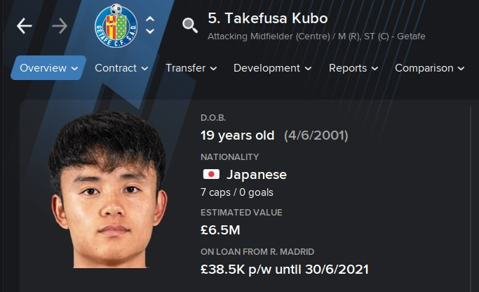 Takefusa Kubo FM21 Football Manager 2021 Wonderkid