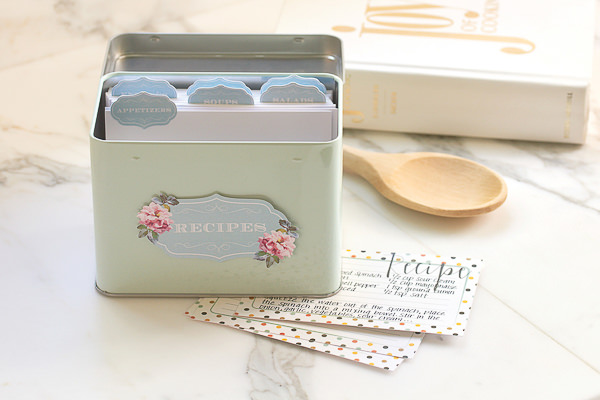 recipe box stickers made with cricut