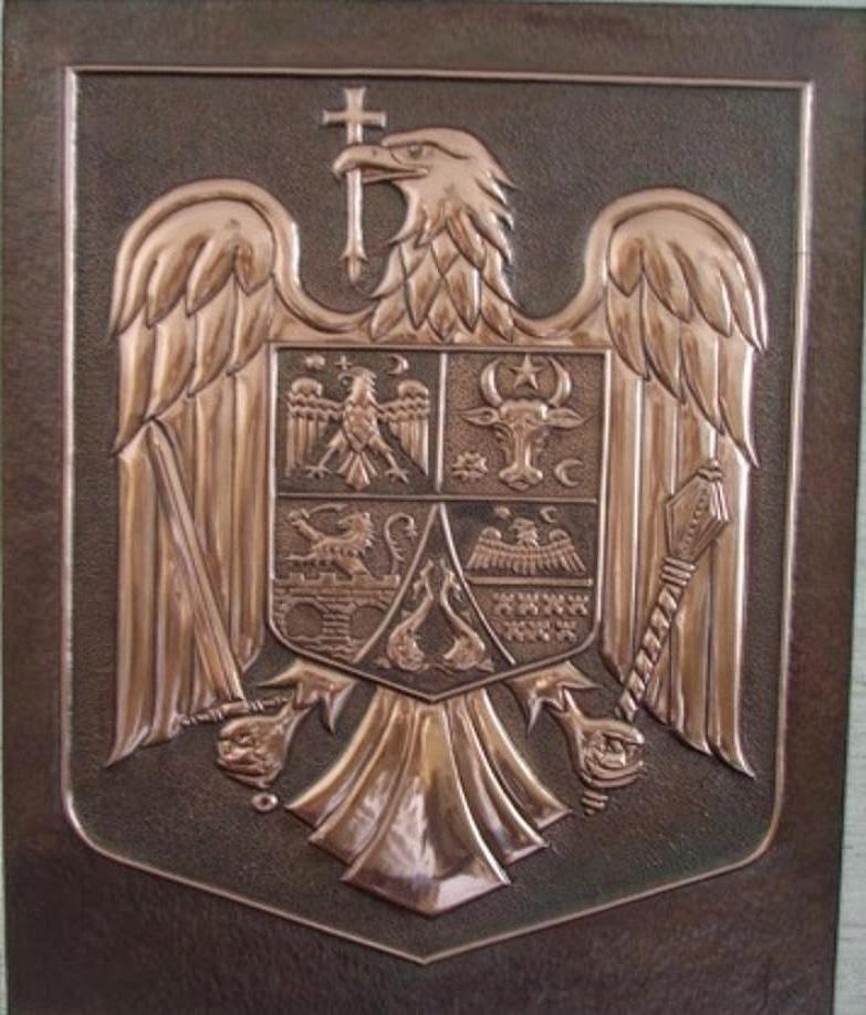 metalloplasie, metaloplastia, metaloplastie, modelarea tablei, métalloplastique, tablouri pe tabla de cupru, tablou, arta plastice, lucru manual, emblema romaniei, stema romaniei,